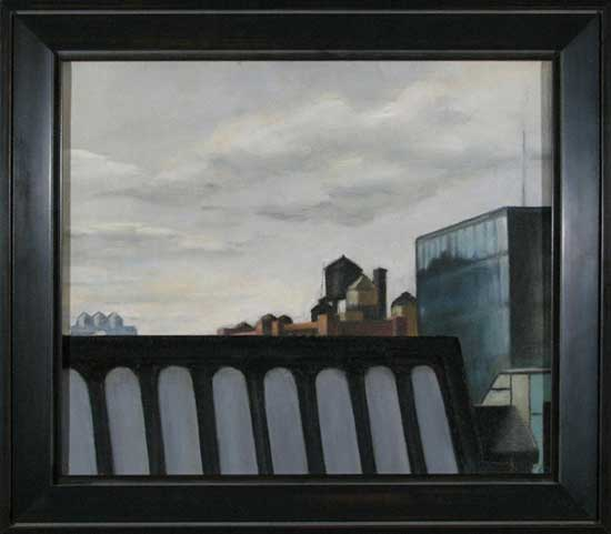 New York Cityscape; oil on canvas; c.1970