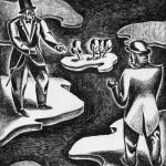 Border Dispute Leon Bibel brush & ink drawing 1936