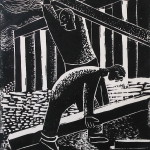 WPA, Depression Era, Black and White, 2 Men Building a House