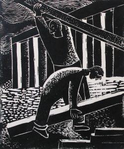 Building a House; Leon Bibel; linocut; c.1937
