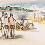 Far Rockaway, beach scene, WPA, summer