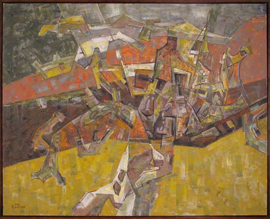 Four Fields with Ochre Leon Bibel oil on canvas 1962