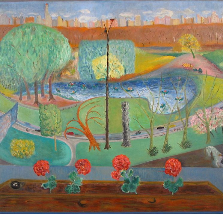 Central Park Spring, Babette New, oil on canvas, 1950