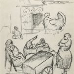 women and baby carriages, NYC  street scene, WPA, Depression Era