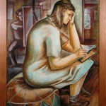 Woman Writing / Artist at Easel Leon Bibel oil on canvas; c.1937