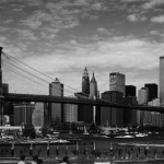 George Forss East River Panorama with Brooklyn Bridge and Twin Towers