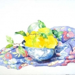 Chinese Bowl with Lemons Hazel Jarvis watercolor 2006