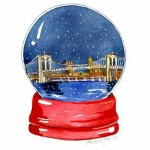 Brooklyn Bridge Starry Sky Snow Globe Hazel Jarvis watercolor
