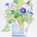 Morning Glories/Glass Vase Hazel Jarvis watercolor