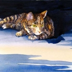 Watchful Cat Hazel Jarvis watercolor