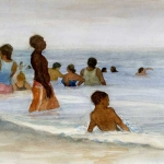 Coney Island Bathers Study 1, Eric March watercolor 2009