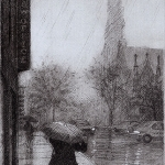 September Rain/7th Avenue, Eric March, drypoint etching, 2009