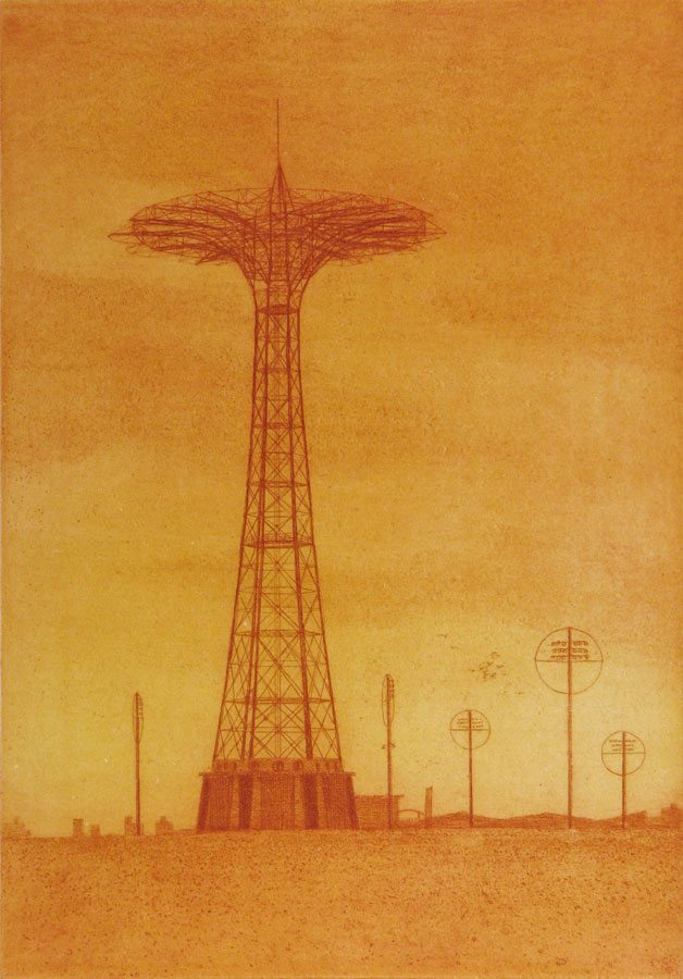 Parachute Jump, Eric March, etching, 2009