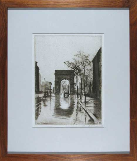 Elias Grossman, Rain on the Square (Washington Square, NYC)