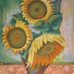 Sunflowers Leon Bibel silk screen; 1939