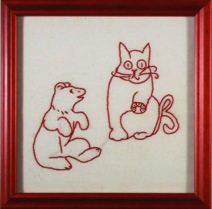 Cat and Bear Quilt Square, hand embroidered, c.1915