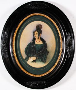 Woman In Green; H. Farrer; oil on paper, oval antique frame, 1833