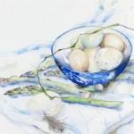 Asparagus and Eggs Hazel Jarvis watercolor 1999