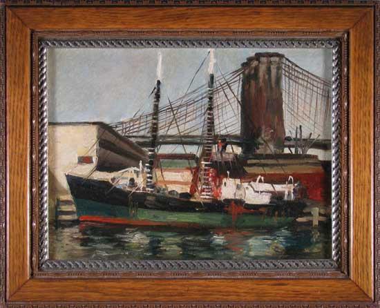 Brooklyn Bridge Docked Boats; oil on canvas; antique frame; c.1890