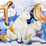 Arnold: The Three-Legged Cat Who Loved Canteloupe Hazel Jarvis watercolor