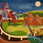 Leon Bibel, Farm Scene, silk screen