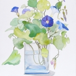 Morning Glories/Glass Vase
