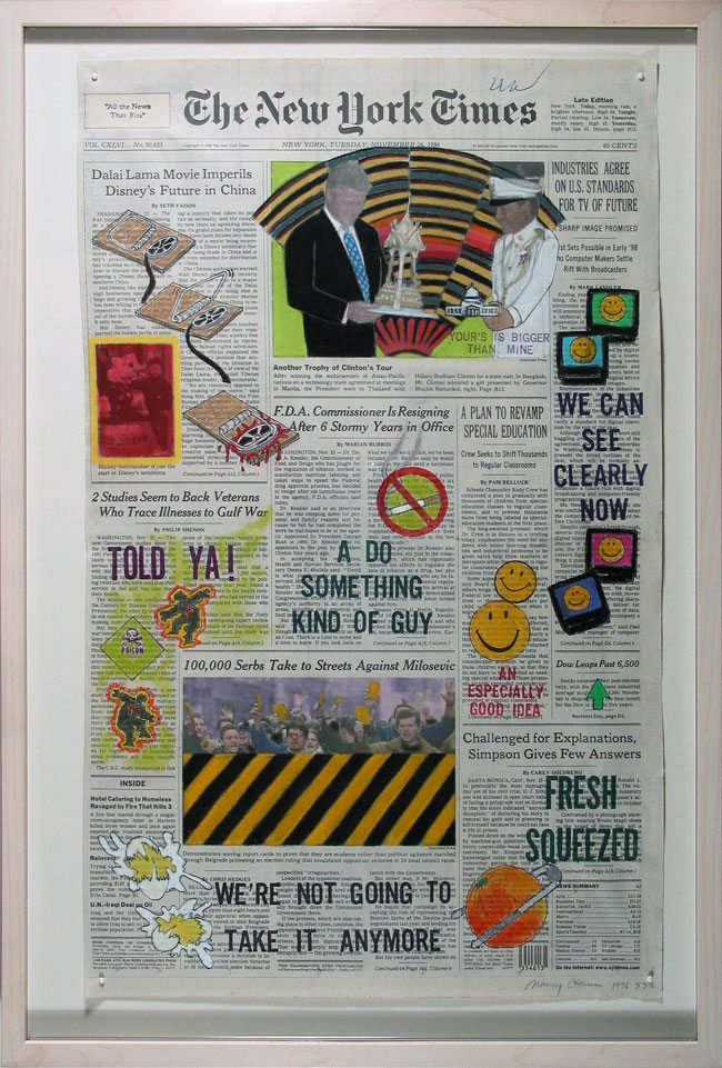"""Front Pages, New York Times"" series Nancy Chunn mixed media on newspaper"