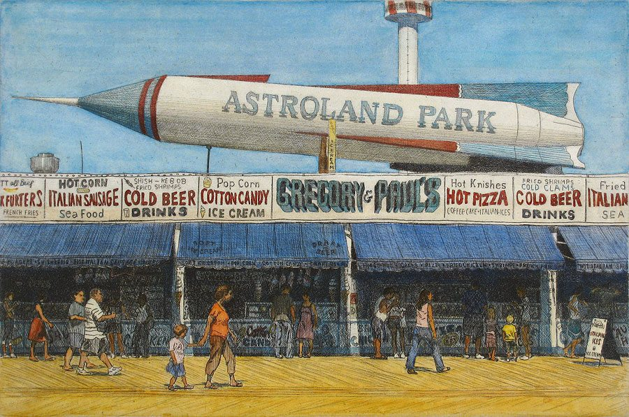 Astroland, Eric March, hand colored etching, 2009