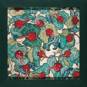 Elephants and Radishes; Eleanor Harrington; gouache textile design; 1948