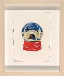 Meadowport Arch Snow Globe; Hazel Jarvis; watercolor; 2008; Prospect Park, Brooklyn