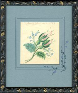 1844, To A School Friend, original color pencil drawing, restored antique frame