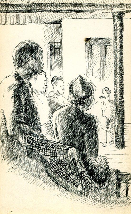 At a Meeting ; Leon Bibel; pen and ink drawing; c.1937