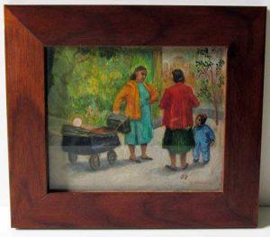 The Conversation/Women and Babies; original oil; c.1950