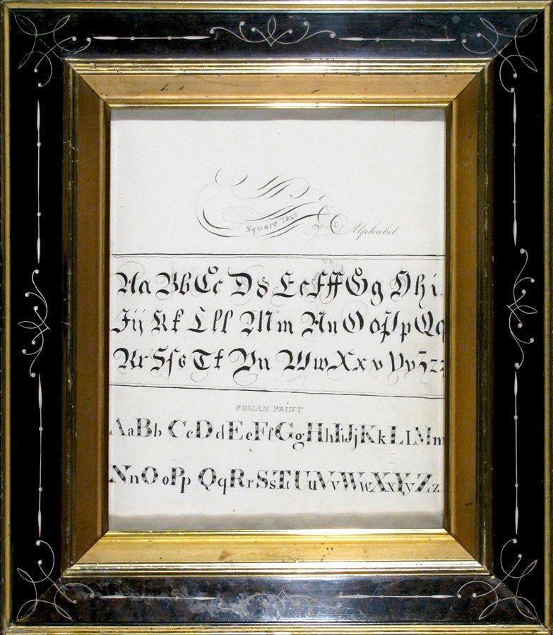 Calligraphic Alphabet; antique Eastlake frame; c.1875