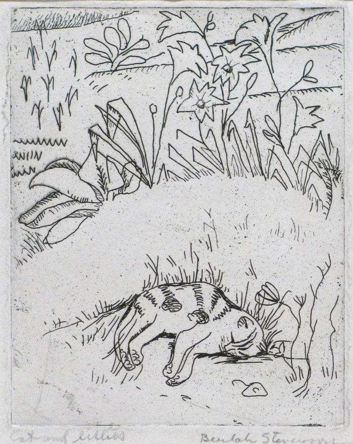 Cat and Lillies; Beulah Stevenson; etching; 1926