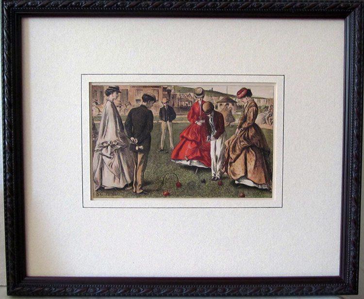 Croquet; vintage wood engraving; c.1860