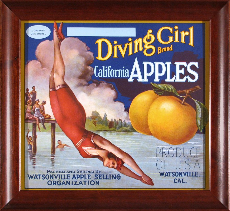 Diving Girls  Brand California Apples; vintage crate label; c.1930