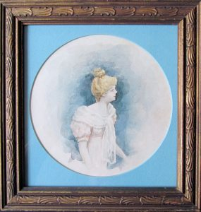 Inspired by Lautrec; watercolor; antique frame; c.1900