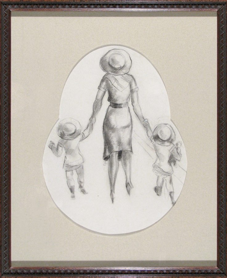 Mother and Two Children; Peter Driben; graphite drawing; c.1930