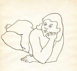 Nude; Leon Bibel; pen & ink drawing; c.1937