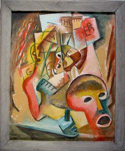 Pickets, Leon Bibel, oil on canvas; original artist-made frame, 1938