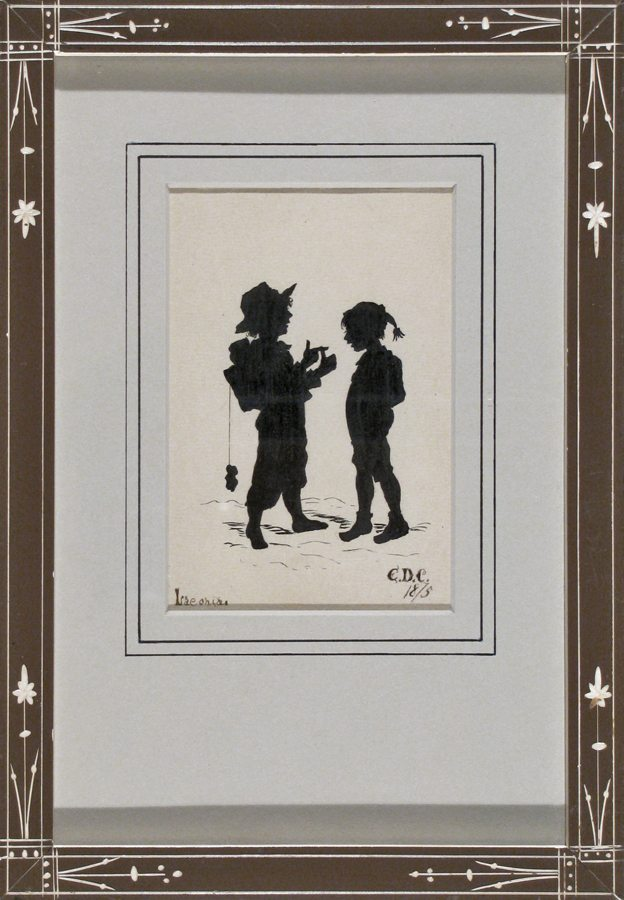 Silhouette Two Boys; pen and ink; restored antique Eastlake frame; 1875