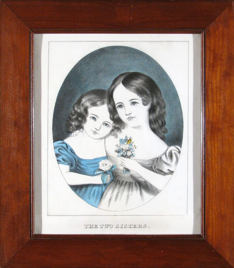 Two Sisters; Currier (before Ives); hand colored lithograph c.1855; restored antique frame