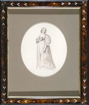 Woman with Pearl Necklace; grisaille ink wash drawing; restored antique frame; c.1840