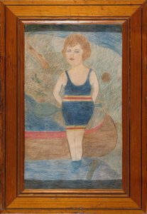 Young Woman and Canoe; anonymous folk art color pencil drawing; restored antique frame; c.1919