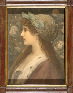 Woman in Profile with Decorated Head Scarf; lithograph; original antique frame; c.1885