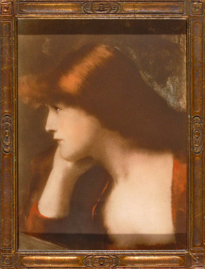 Woman in Profile with Auburn Hair; lithograph; restored antique frame; c.1900