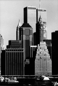 The Twin Towers and Downtown Skyscrapers from Brooklyn Heights; George Forss; silver gelatin print; 1994
