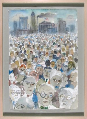 Wall Street, Charles Luffman, watercolor, c.1955