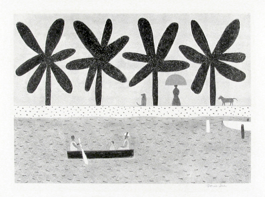 Doris Lee, Along the Waterway, stone lithograph
